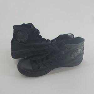 Black converse high top chuck taylors. Size 8